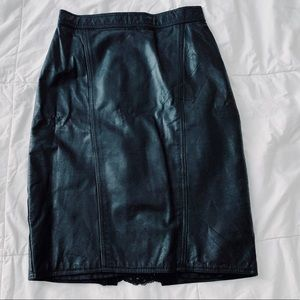 Vintage Genuine Leather Pencil Skirt